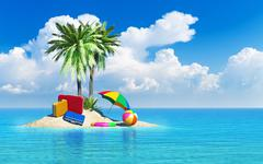 Travel, tourism and vacations concept - stock illustration
