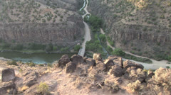 John Dunn Bridge- Rio Grand Gorge by air Stock Footage