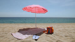 Beach place with umbrella Stock Footage