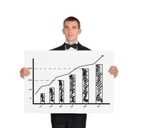 placard with chart - stock photo