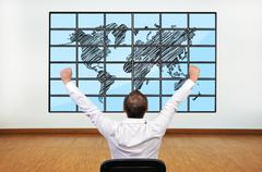 happy businessman and map - stock photo