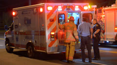 Ambulance At Crash Scene Stock Footage