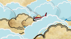 Europa tourism cartoon decorative footage with airplane and clouds Stock Footage