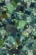 euro bills x-ray - stock illustration