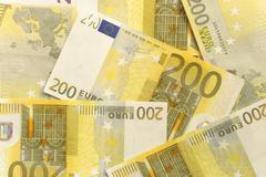 euro bills - 200 - stock photo