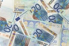 euro bills - 20 - stock photo