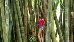 Girl at the Bamboo thickets Stock Footage