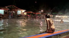 People at the Swimming Pool of the Ciater Thermal Spring Stock Footage