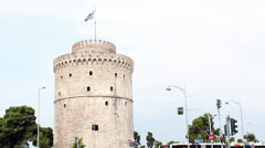White tower thessaloniki Stock Footage