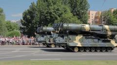 Rocket-tanks go on the street Stock Footage