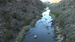 Descending into the Rio Grande Gorge- aerial shot Stock Footage