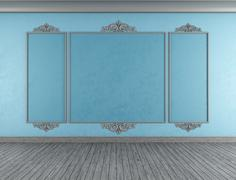 empty blue classic room - stock illustration