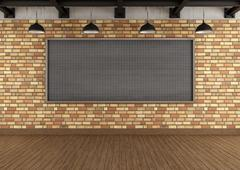 Empty loft with large blackboard squared Stock Illustration