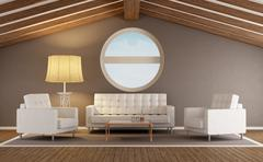 Modern living room in an attic Stock Illustration