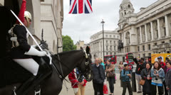 Tourists at horse guards parade, London, England Stock Footage