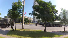 Army in the city center. Motion view Stock Footage