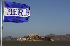 Pier 39 and Alcatraz Island Stock Photos