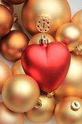 red heart shaped christmas ornament - stock photo