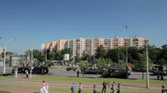 Army in the city center. Stock Footage