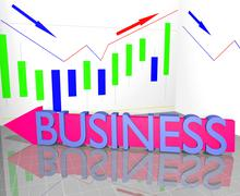 Business word on arrow and statistic diagram graph financial strategy concept Stock Illustration