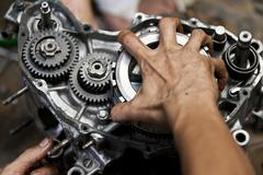 Motorcycle engine repair Stock Photos