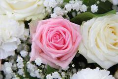 bridal flower arrangement in pink and white - stock photo