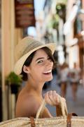 nauraa nainen ostoksilla - stock photo