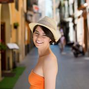 beautiful woman on a street in palma de mallorca - stock photo