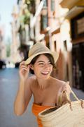 Beautiful woman going out shopping Stock Photos