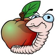Worm and Apple Stock Illustration