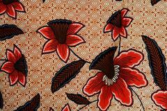 colorful batik cloth fabric background - stock photo