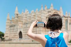 woman tourist in mallorca - stock photo