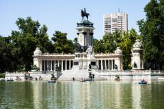 monument in memory of king alfonso xii, retiro park, madrid, spain - stock photo