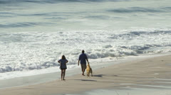 Couple with dog walks at beach at Carmel by the Sea Stock Footage