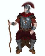 Roman Centurion with Transverse Crest and Vine Staff Stock Illustration