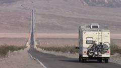 RV On Endless Highway In Death Valley Stock Footage