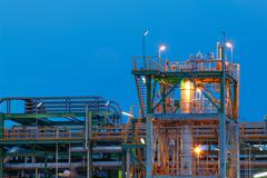 petrochemical factory - stock photo