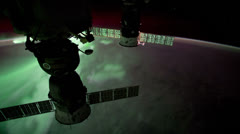Aurora Australis (northern lights) seen from the International Space Station Stock Footage