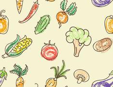 doodle color vegetables seamless pattern - stock illustration