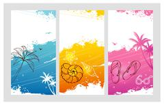 Color summer set with splash - stock illustration