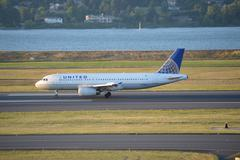 United Airlines Airbus at Portland Airport Stock Photos