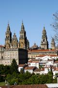 the cathedral of santiago de compostela is the reputed burial-place of saint  - stock photo