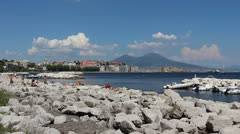 Naples in summer with Vesuvius in background Stock Footage