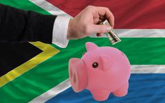 dollar into piggy rich bank and  national flag of south africa - stock photo