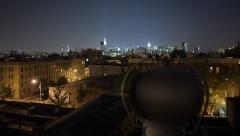 Amazing View on Manhattan from rooftop at night time lapse - stock footage