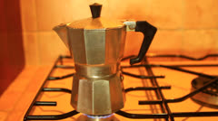 Moka pot coffee pot for making espresso coffee Stock Footage