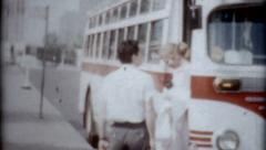 Female exitting city bus vintage fashion 1950s Passenger Travel transportion Stock Footage