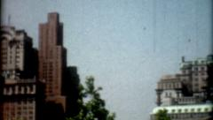 8mm Film 1950s New York skyline building and people lifestyle outdoors vintage Stock Footage