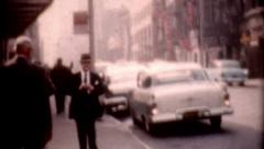 Film 1950s Manhattan New York street view vintage fashion historic outdoors Stock Footage