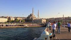Galata Bridge, Eminonu, Istanbul Stock Footage